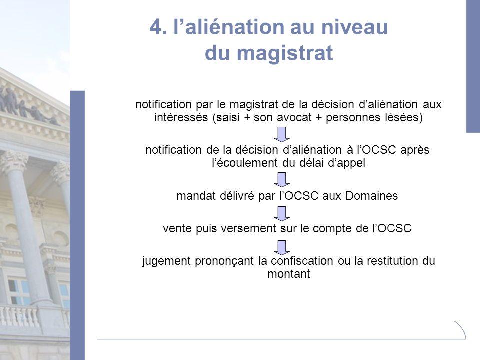4. laliénation au niveau du magistrat notification par le magistrat de la décision daliénation aux intéressés (saisi + son avocat + personnes lésées)