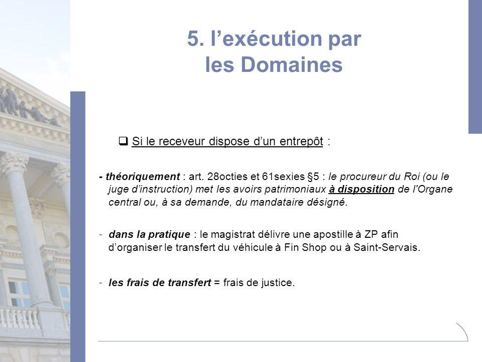 5. lexécution par les Domaines Si le receveur dispose dun entrepôt : - théoriquement : art. 28octies et 61sexies §5 : le procureur du Roi (ou le juge