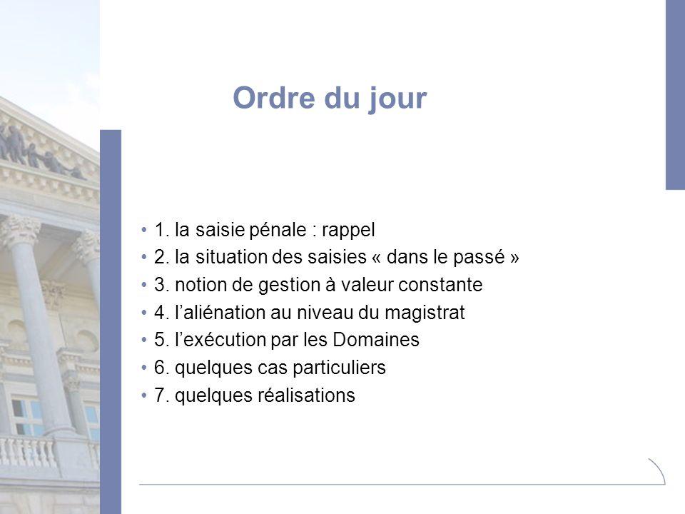 Ordre du jour 1. la saisie pénale : rappel 2. la situation des saisies « dans le passé » 3. notion de gestion à valeur constante 4. laliénation au niv