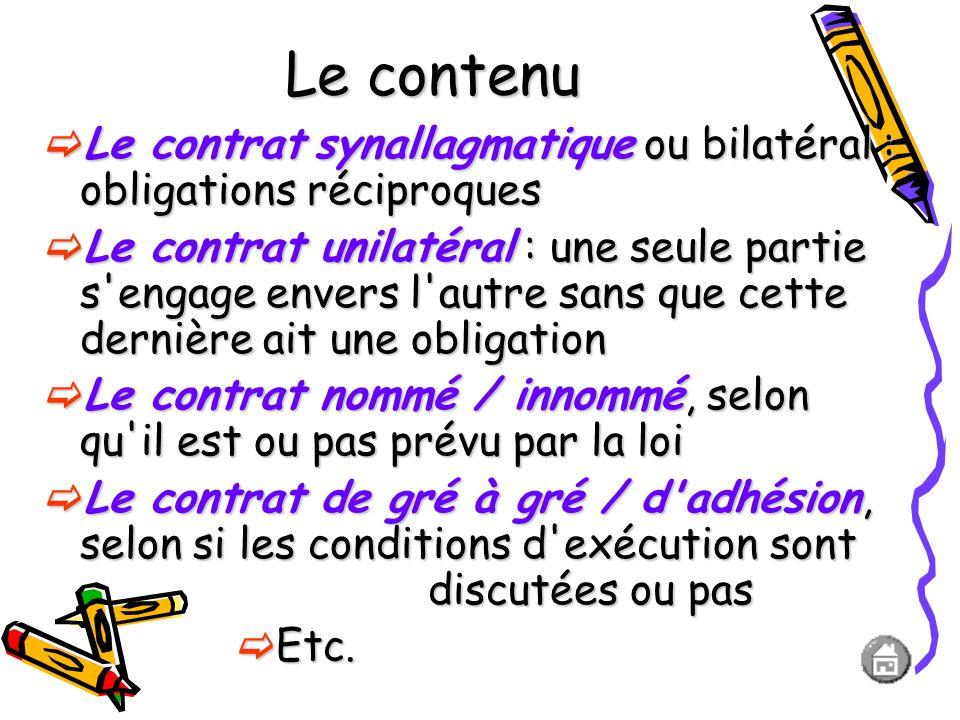 L'exécution des obligations Le contrat à exécution instantanée ou contrat instantané : l'exécution se fait en une seule fois. Le contrat à exécution s