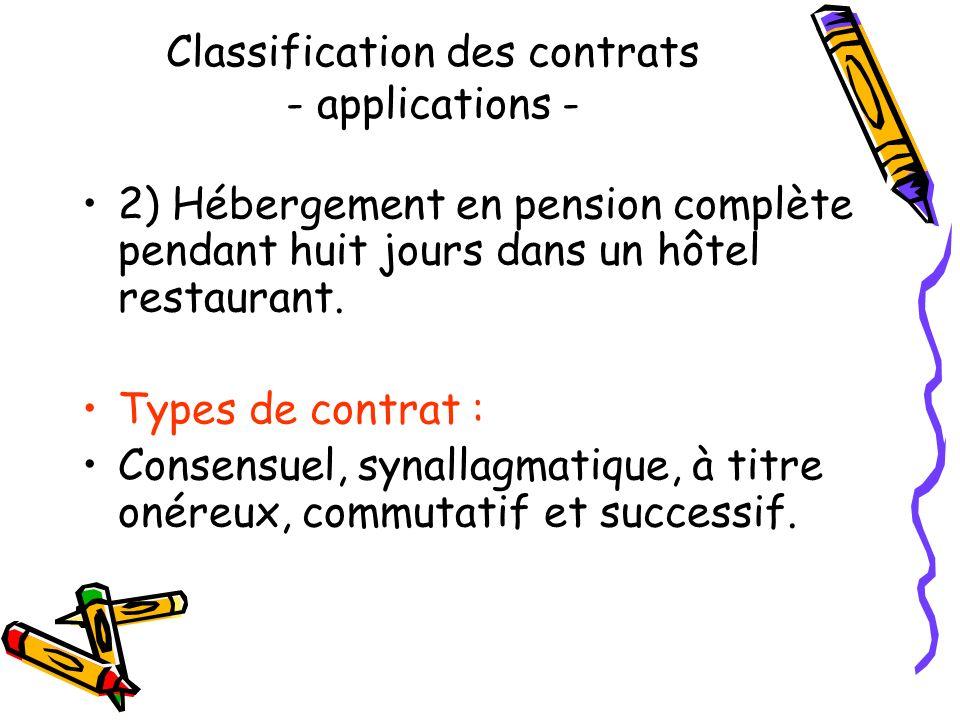 Classification des contrats - applications - 1) Location pour trois ans dune chambre meublée moyennant un loyer de 240. Types de contrat: Consensuel,