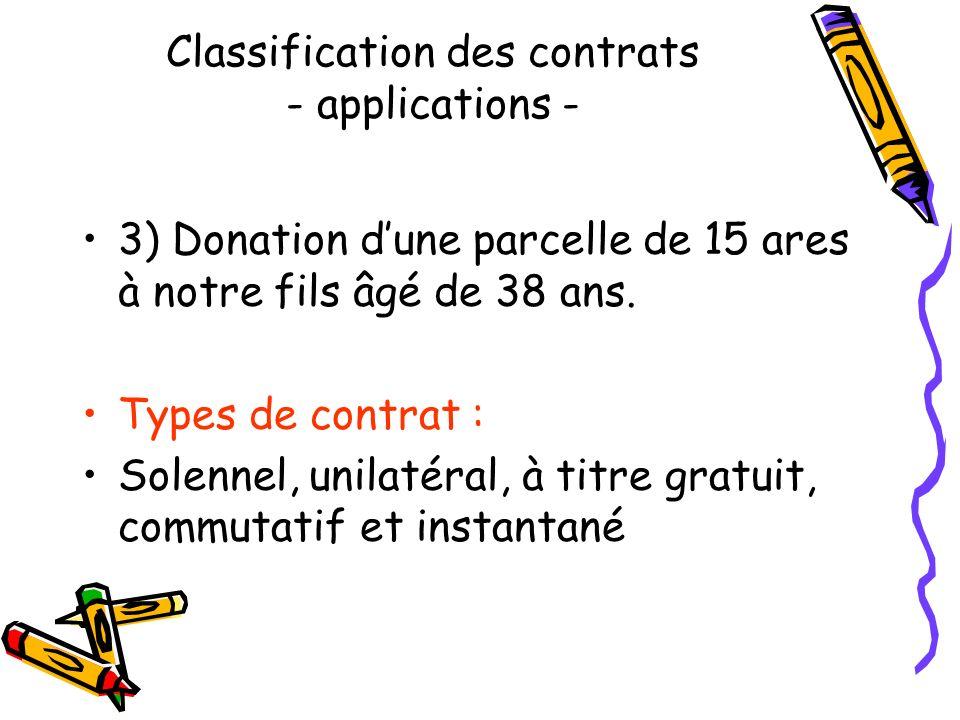 Classification des contrats - applications - 2) Hébergement en pension complète pendant huit jours dans un hôtel restaurant. Types de contrat : Consen
