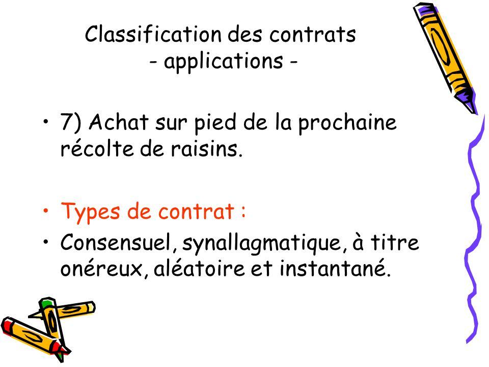 Classification des contrats - applications - 6) Achat, à un démarcheur à domicile, dune machine pour nettoyer les sols. Types de contrat : Solennel, s