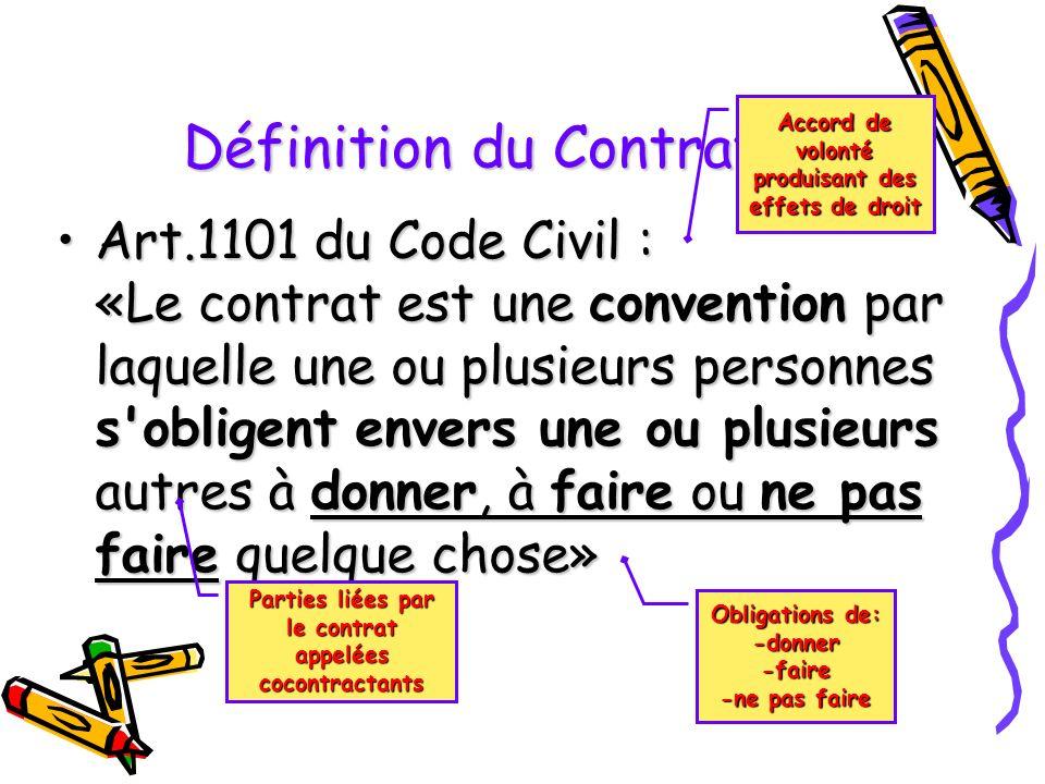 Le Contrat définition de la notion du contrat définition de la notion du contrat formation des contrats formation des contrats classification des cont