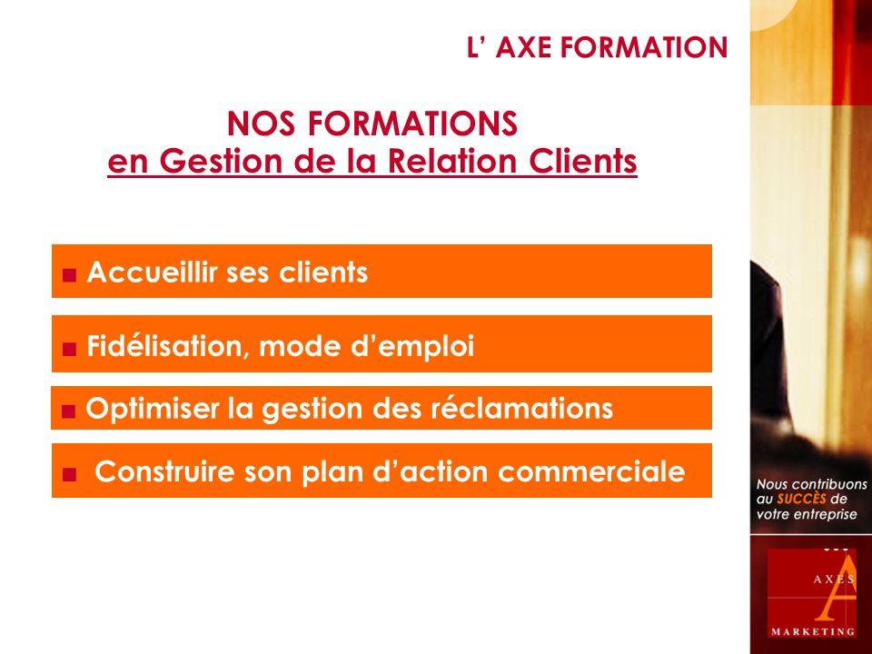 NOS FORMATIONS en Gestion de la Relation Clients Accueillir ses clients Fidélisation, mode demploi Optimiser la gestion des réclamations Construire so