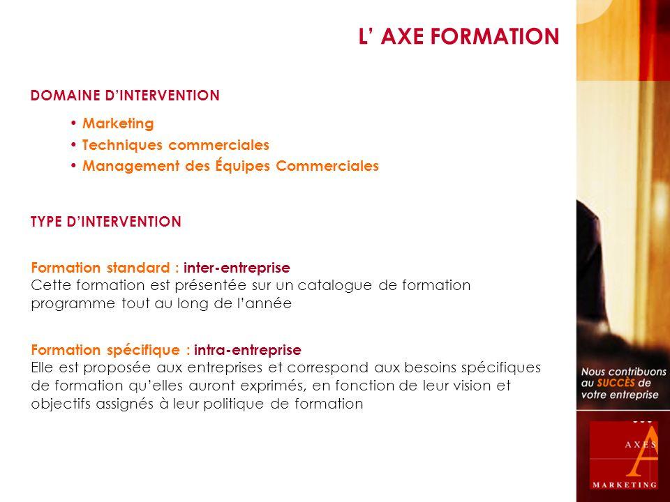 DOMAINE DINTERVENTION Formation standard : inter-entreprise Cette formation est présentée sur un catalogue de formation programme tout au long de lann