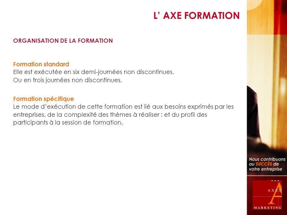 L AXE FORMATION ORGANISATION DE LA FORMATION Formation standard Elle est exécutée en six demi-journées non discontinues. Ou en trois journées non disc