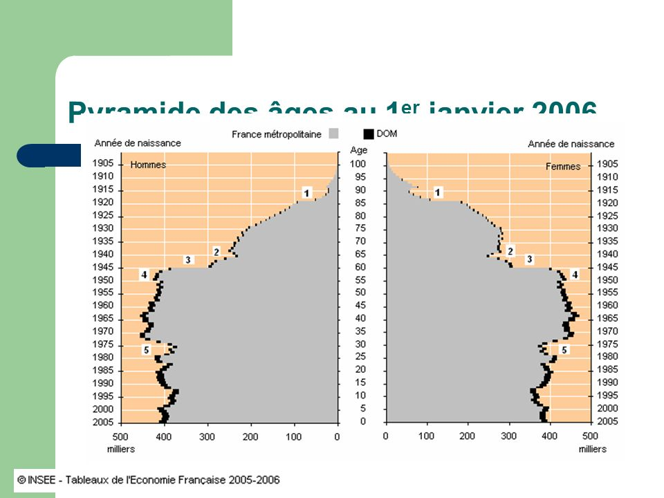 Pyramide des âges au 1 er janvier 2006