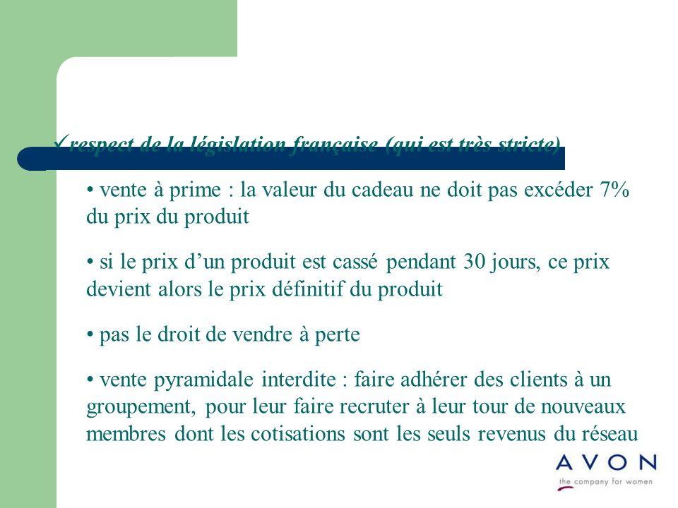 respect de la législation française (qui est très stricte) vente à prime : la valeur du cadeau ne doit pas excéder 7% du prix du produit si le prix du
