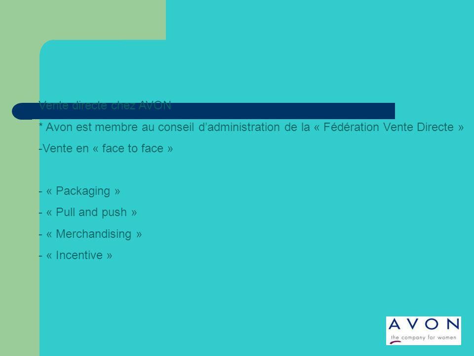 Vente directe chez AVON * Avon est membre au conseil dadministration de la « Fédération Vente Directe » -Vente en « face to face » - « Packaging » - « Pull and push » - « Merchandising » - « Incentive »