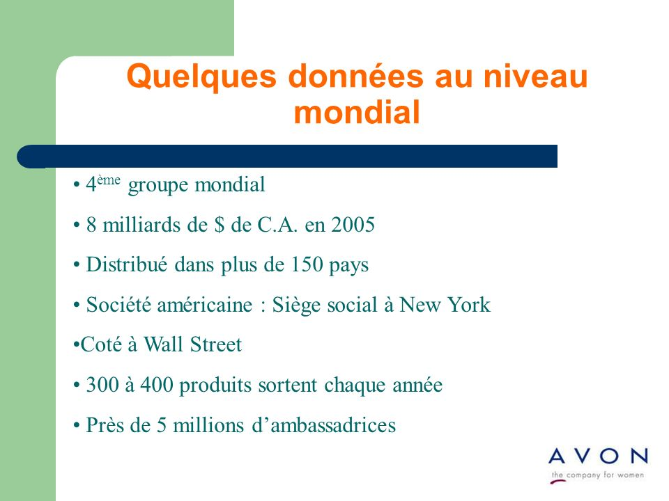 4 ème groupe mondial 8 milliards de $ de C.A. en 2005 Distribué dans plus de 150 pays Société américaine : Siège social à New York Coté à Wall Street