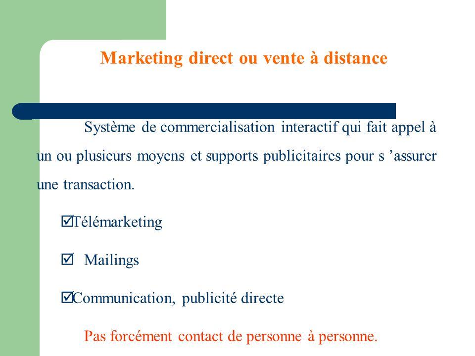 Marketing direct ou vente à distance Système de commercialisation interactif qui fait appel à un ou plusieurs moyens et supports publicitaires pour s assurer une transaction.