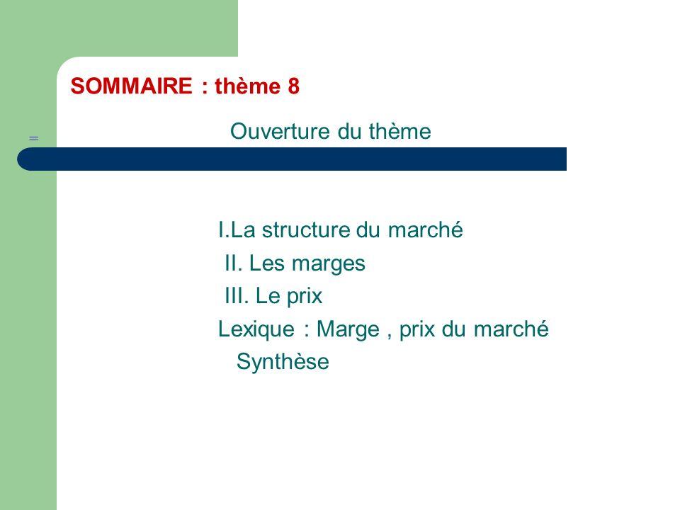 SOMMAIRE : thème 8 Ouverture du thème I.La structure du marché II.
