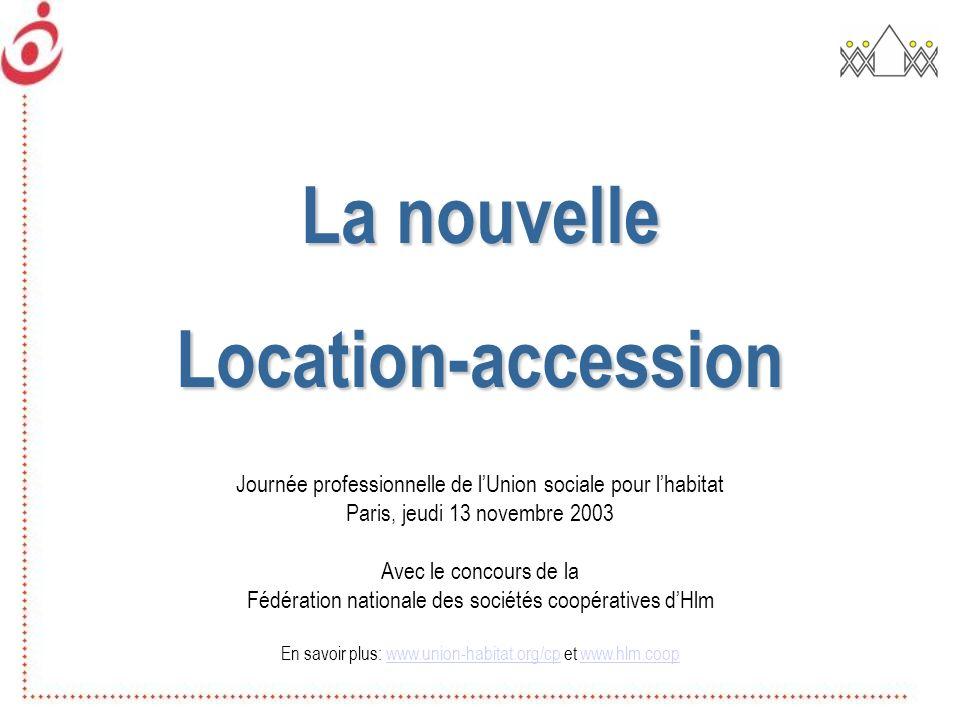 La nouvelle Location-accession Journée professionnelle de lUnion sociale pour lhabitat Paris, jeudi 13 novembre 2003 Avec le concours de la Fédération