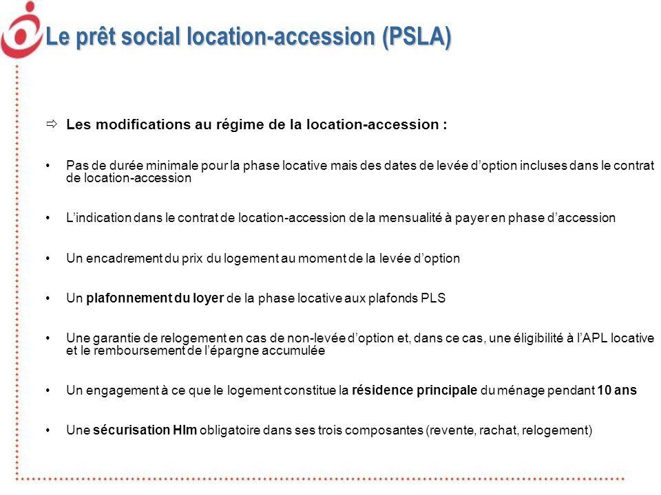 Le prêt social location-accession (PSLA) Les modifications au régime de la location-accession : Pas de durée minimale pour la phase locative mais des