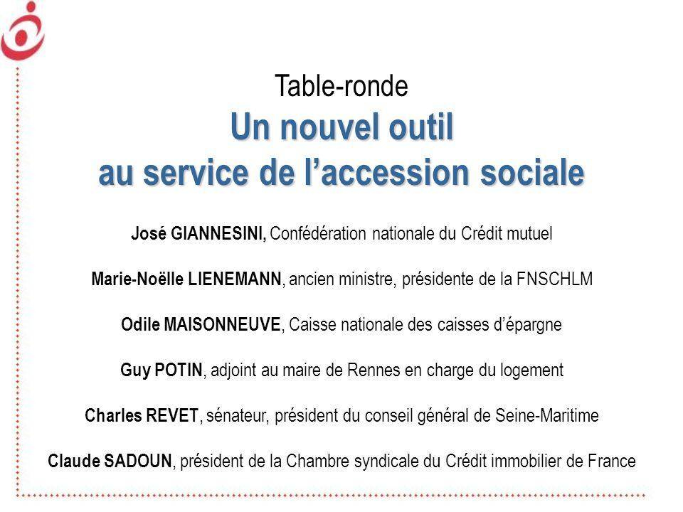 Table-ronde Un nouvel outil au service de laccession sociale José GIANNESINI, Confédération nationale du Crédit mutuel Marie-Noëlle LIENEMANN, ancien