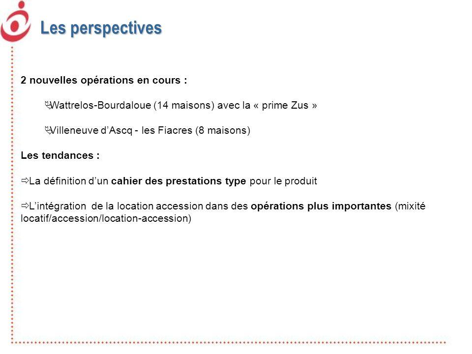 2 nouvelles opérations en cours : Wattrelos-Bourdaloue (14 maisons) avec la « prime Zus » Villeneuve dAscq - les Fiacres (8 maisons) Les tendances : L