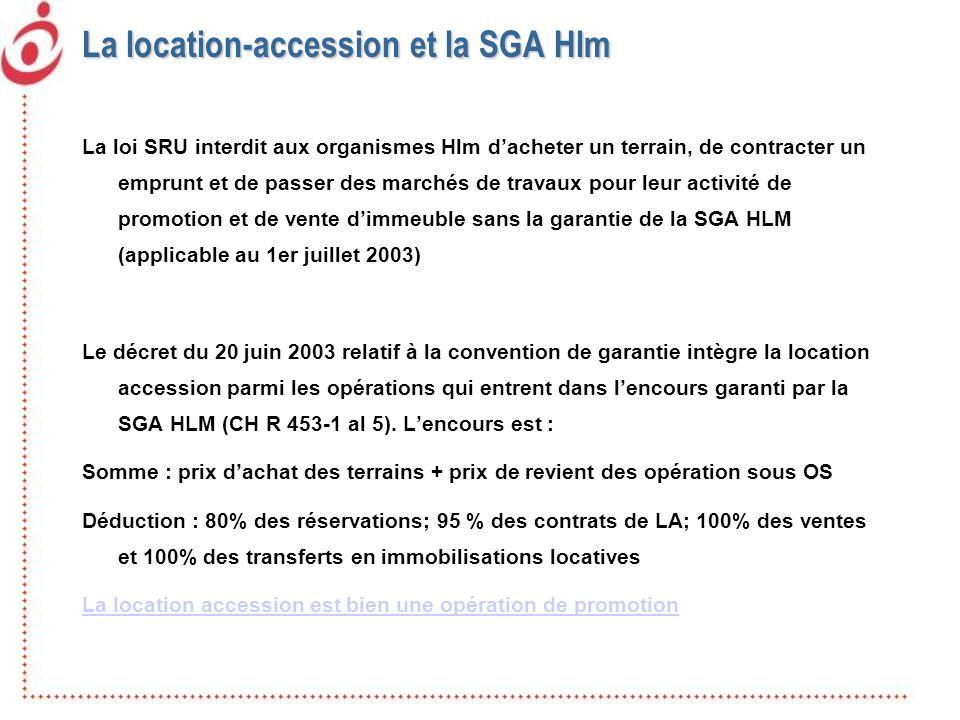 La location-accession et la SGA Hlm La loi SRU interdit aux organismes Hlm dacheter un terrain, de contracter un emprunt et de passer des marchés de t
