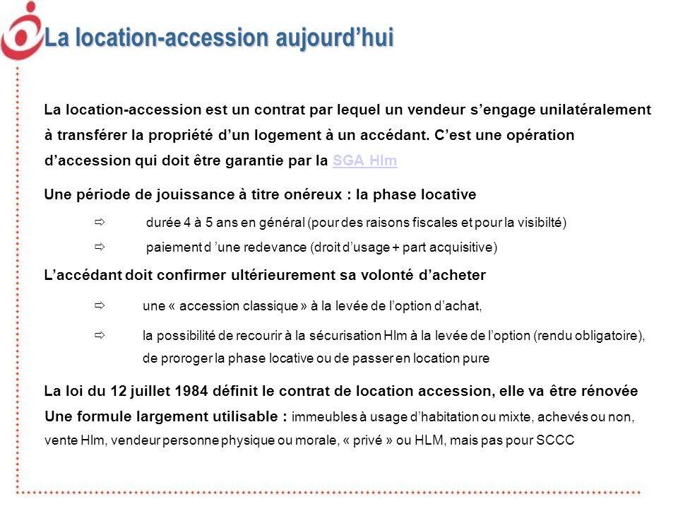 La location-accession aujourdhui La location-accession est un contrat par lequel un vendeur sengage unilatéralement à transférer la propriété dun loge