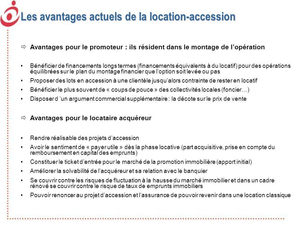 Les avantages actuels de la location-accession Avantages pour le promoteur : ils résident dans le montage de lopération Bénéficier de financements lon