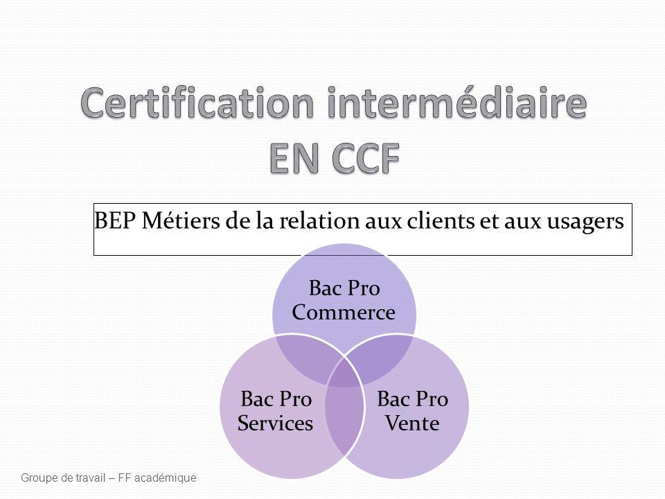 BEP Métiers de la relation aux clients et aux usagers Groupe de travail – FF académique Bac Pro Commerce Bac Pro Vente Bac Pro Services