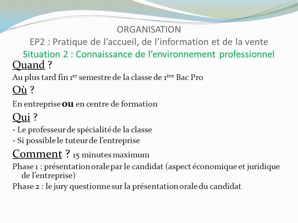 ORGANISATION EP2 : Pratique de laccueil, de linformation et de la vente Situation 2 : Connaissance de lenvironnement professionnel Quand ? Au plus tar