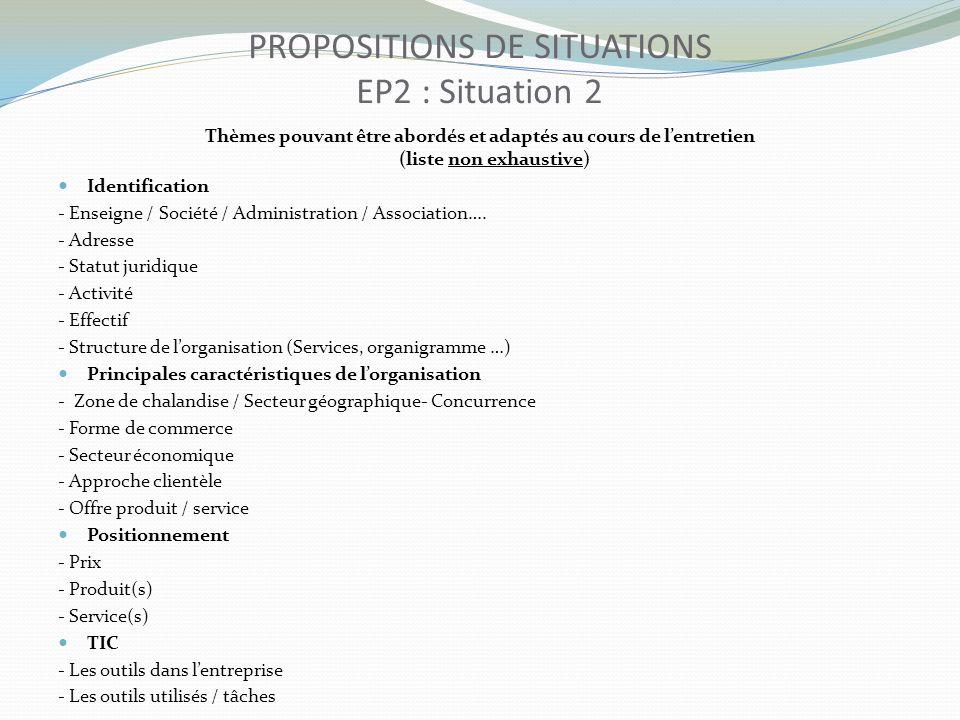 Thèmes pouvant être abordés et adaptés au cours de lentretien (liste non exhaustive) Identification - Enseigne / Société / Administration / Associatio