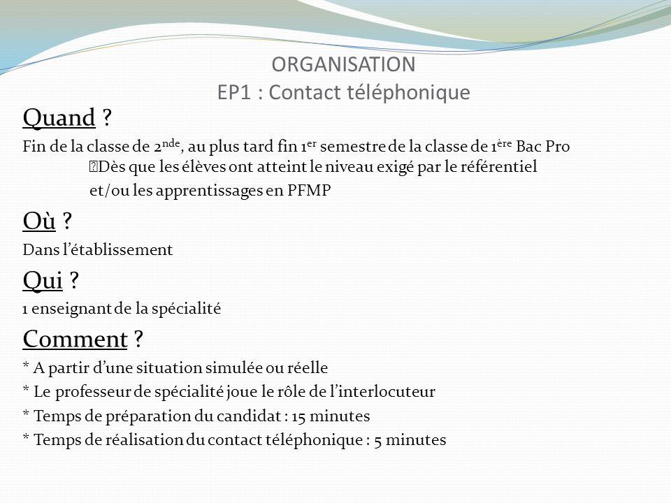 PROPOSITIONS DE SITUATIONS EP1 : Contact téléphonique Emission dappel : Passage de commande Prise de rendez-vous ou report Réclamation suite à une livraison (fournisseur) Réponse à demande de renseignements, à réclamation, etc Recherche dinformation (ex : publication dune annonce, appel du journal) Réservations diverses Etc…