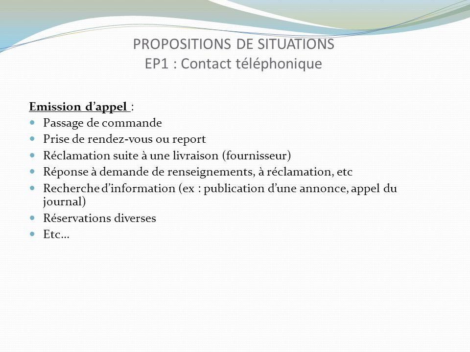 PROPOSITIONS DE SITUATIONS EP1 : Contact téléphonique Emission dappel : Passage de commande Prise de rendez-vous ou report Réclamation suite à une liv