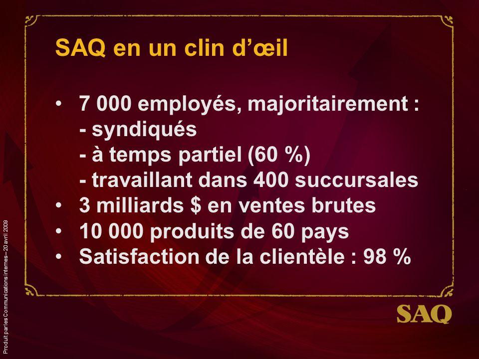 SAQ en un clin dœil 7 000 employés, majoritairement : - syndiqués - à temps partiel (60 %) - travaillant dans 400 succursales 3 milliards $ en ventes brutes 10 000 produits de 60 pays Satisfaction de la clientèle : 98 %