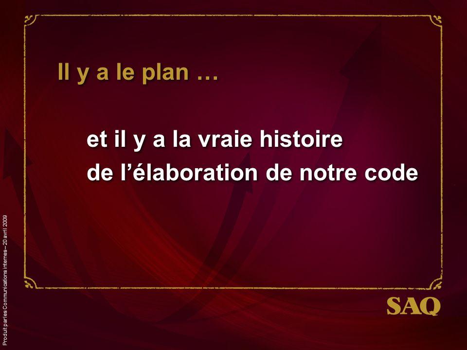 Il y a le plan … et il y a la vraie histoire de lélaboration de notre code Produit par les Communications internes – 20 avril 2009