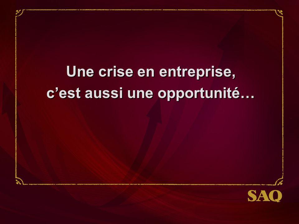 Une crise en entreprise, cest aussi une opportunité… Une crise en entreprise, cest aussi une opportunité…