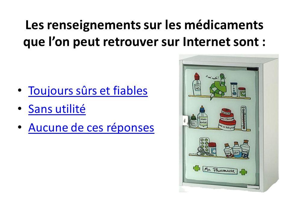 Les renseignements sur les médicaments que lon peut retrouver sur Internet sont : Toujours sûrs et fiables Sans utilité Aucune de ces réponses