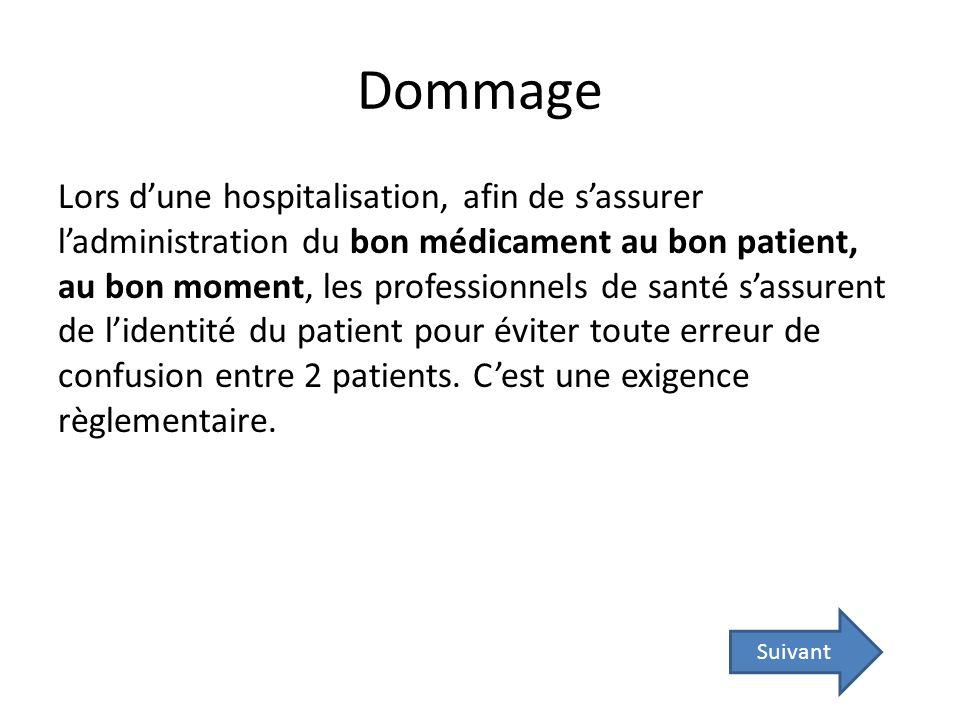 Dommage Lors dune hospitalisation, afin de sassurer ladministration du bon médicament au bon patient, au bon moment, les professionnels de santé sassu