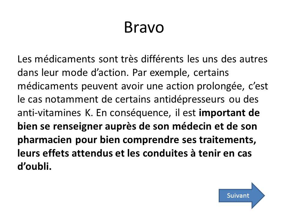 Bravo Les médicaments sont très différents les uns des autres dans leur mode daction. Par exemple, certains médicaments peuvent avoir une action prolo
