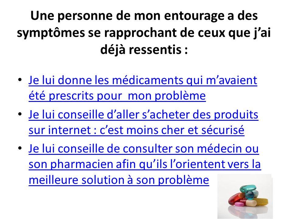 Une personne de mon entourage a des symptômes se rapprochant de ceux que jai déjà ressentis : Je lui donne les médicaments qui mavaient été prescrits