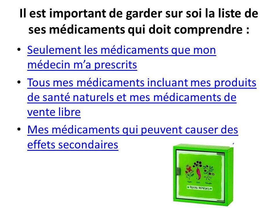 Il est important de garder sur soi la liste de ses médicaments qui doit comprendre : Seulement les médicaments que mon médecin ma prescrits Seulement