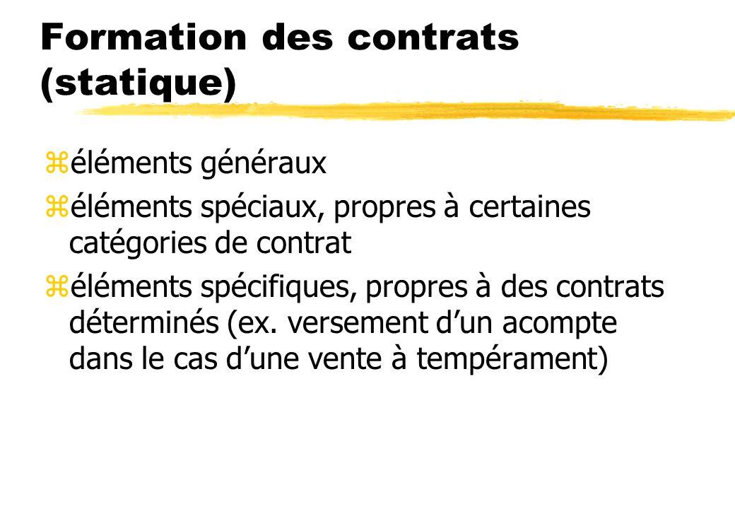 Formation des contrats (statique) zéléments généraux zéléments spéciaux, propres à certaines catégories de contrat zéléments spécifiques, propres à des contrats déterminés (ex.