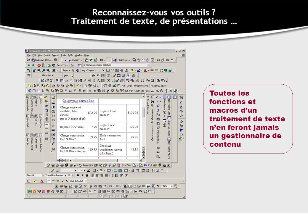 Reconnaissez-vous vos outils ? Traitement de texte, de présentations … Toutes les fonctions et macros dun traitement de texte nen feront jamais un ges