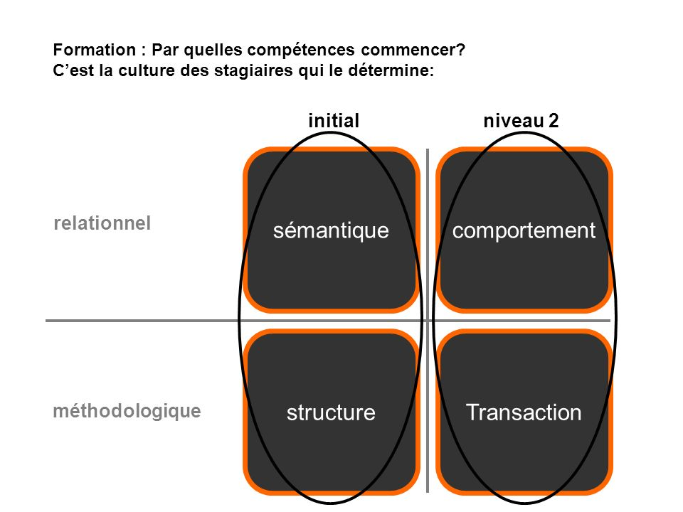 structureTransaction sémantiquecomportement relationnel méthodologique initialniveau 2 Formation : Par quelles compétences commencer.