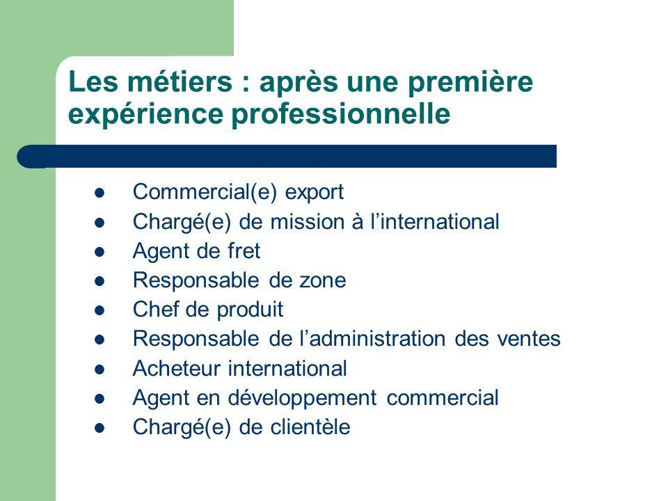 Les métiers : après une première expérience professionnelle Commercial(e) export Chargé(e) de mission à linternational Agent de fret Responsable de zo