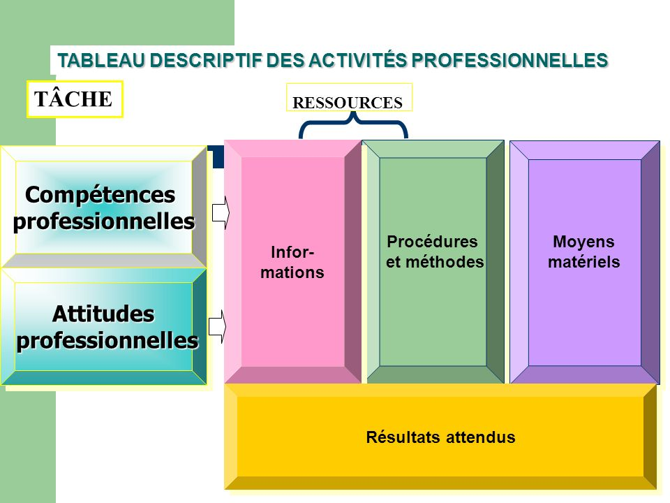TABLEAU DESCRIPTIF DES ACTIVITÉS PROFESSIONNELLES CompétencesprofessionnellesCompétencesprofessionnelles Attitudes professionnelles professionnellesAt