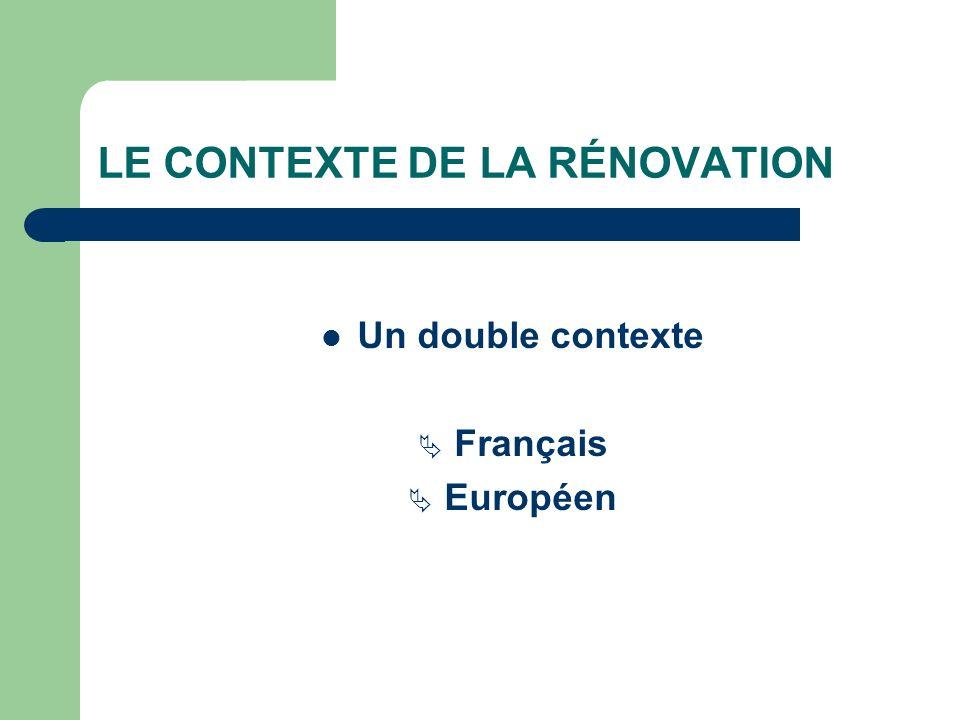 LE CONTEXTE DE LA RÉNOVATION Un double contexte Français Européen