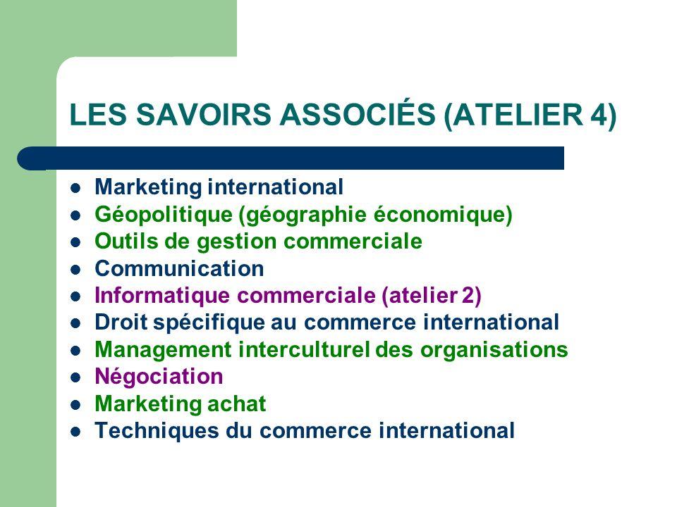 LES SAVOIRS ASSOCIÉS (ATELIER 4) Marketing international Géopolitique (géographie économique) Outils de gestion commerciale Communication Informatique
