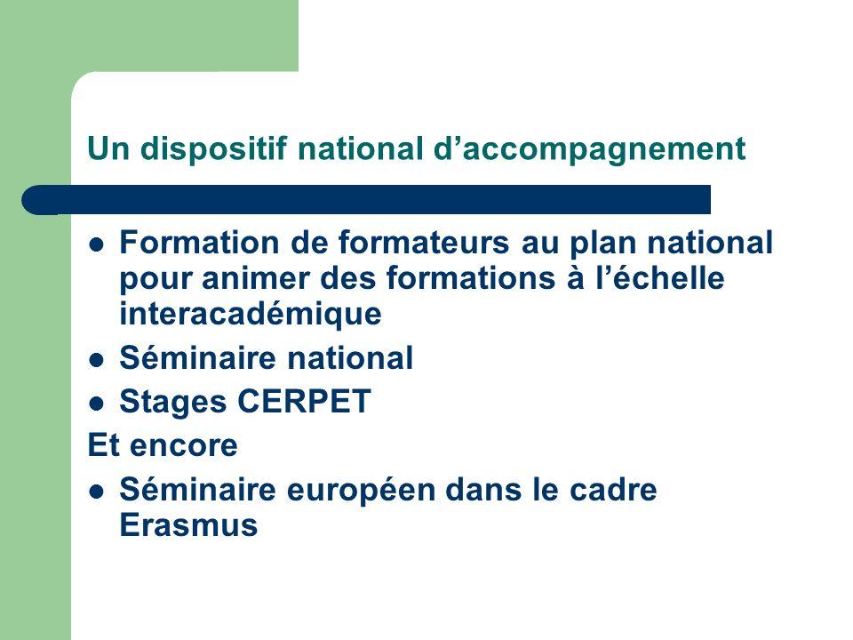 Un dispositif national daccompagnement Formation de formateurs au plan national pour animer des formations à léchelle interacadémique Séminaire nation