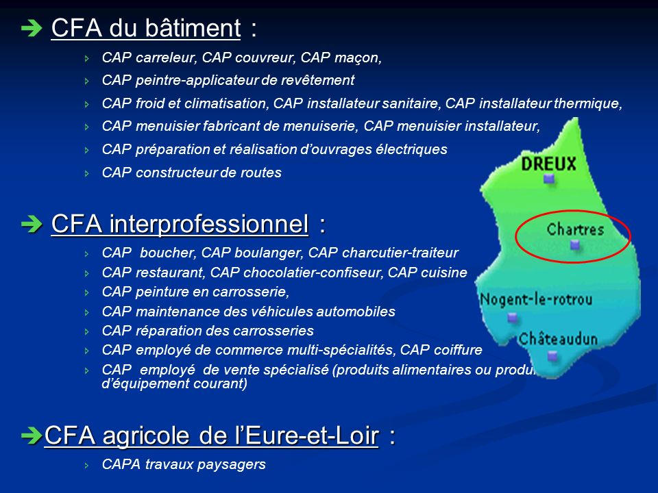 CFA du bâtiment : CAP carreleur, CAP couvreur, CAP maçon, CAP peintre-applicateur de revêtement CAP froid et climatisation, CAP installateur sanitaire