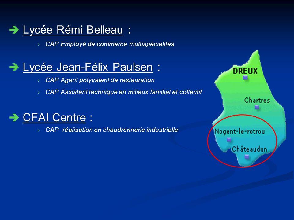 Lycée Rémi Belleau : Lycée Rémi Belleau : CAP Employé de commerce multispécialités Lycée Jean-Félix Paulsen : Lycée Jean-Félix Paulsen : CAP Agent pol