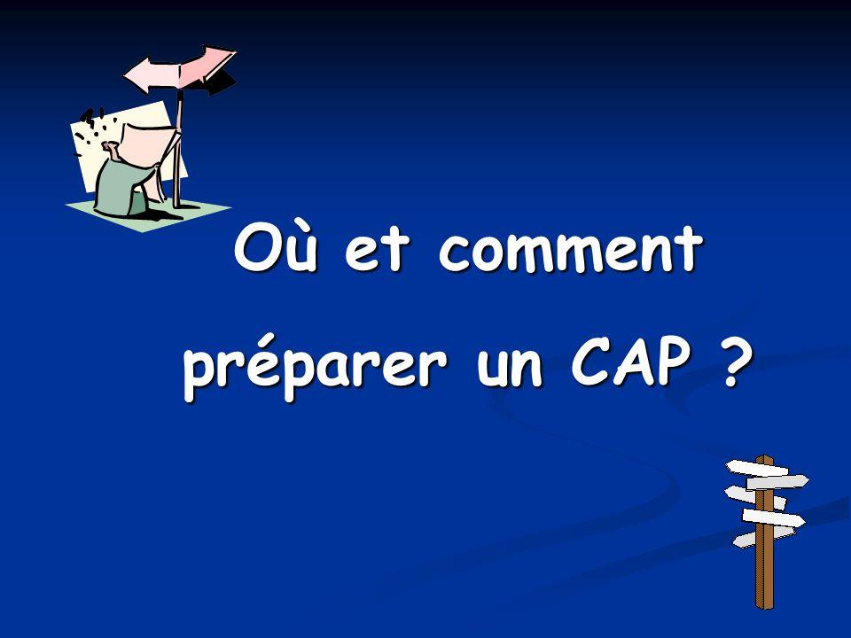 Où et comment préparer un CAP ?
