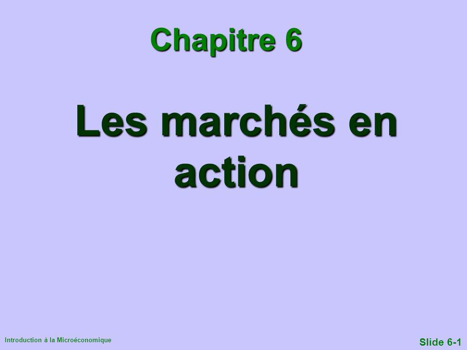 Introduction à la Microéconomique Slide 6-1 Les marchés en action Chapitre 6