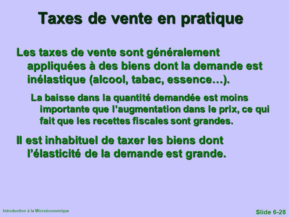 Introduction à la Microéconomique Slide 6-28 Taxes de vente en pratique Les taxes de vente sont généralement appliquées à des biens dont la demande es
